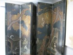 Hand Painted, 6 Panel Screen, Brass Capped Feet, Reverse SIde Bold Bamboo Motif, $1,479