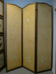 "3-Panel Screen, Hand Painted, Age Unknown, Leather & Head Head Trimmed, 54"" 68""h,  $375"