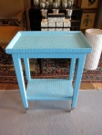 """Accent Table, Faux Turquoise Aligator, Polished Chrome Casters, 12"""" x 18"""" x 24"""", $279"""