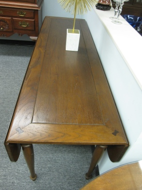 Antique Refectory Table, Drop Leaf,