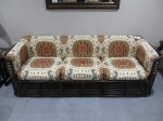 "3 Cushion Rattan Sofa, Baker Furniture, Brunschwig & Fils Ikat Upholstered Cushions, 72"", $579"