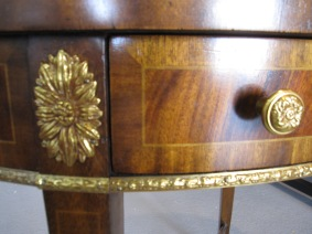 "Maitland Smith, Oval Occasional Table, Regency Style, Aged Mahogany With Inlay, Cast Brass Mounts, 21"" x 15"" x 27"""