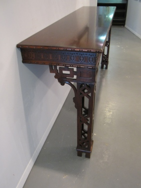 "Chippendale Console, Lovely Fretwork, Two Legged, 72"" x 18"" x 34.5""h, Chinoiserie, $1,119"