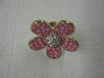 Pink Flower Ring, Pave Center Ring, $24