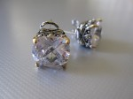 Statement CZ Earrings, Omega Back, $42