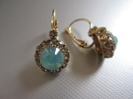 Swarovski Crystal Drop Earrings, Green Opal, Lever Back, $39