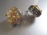 Canary Crystal Earrings, Cushion Cut, Encircled in Pave Crystal, $92