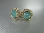 Stud Earrings, Green Opal, Encircled Pave, $25