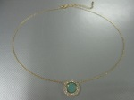 Round Green Opal Stone Necklace, Encircled Pave, $28