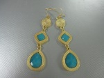 Teardrop Turquoise, Gold Earrings, $22