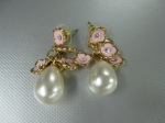 Pearl Drop Earrings, Pink Enamel Flowers, CZ, $29