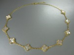Clover Necklace, Mother of Pearl, Gold, $112