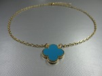 Clover Reversible Faux Turquoise, Mother of Pearl Necklace, $44