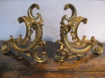 "$1,229 REDUCED $615  - Pair of Well Cast Chenet, French Gilded Bronze Andiron, Original Gilding Shows Years of Patina,  14""w x 13.5"" h"