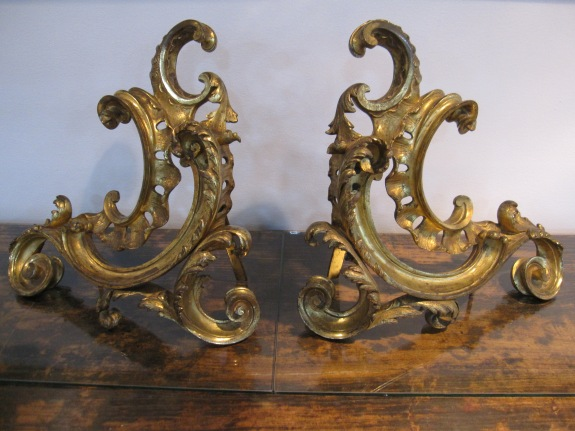 "French Gilded Bronze Andiron, 14""w x 13.5"" h"