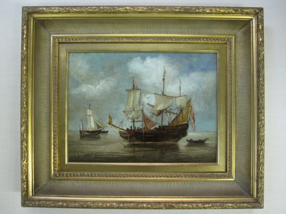 Ship, Clipper, Painting on Board, Gallery Framing, Signed,  $579