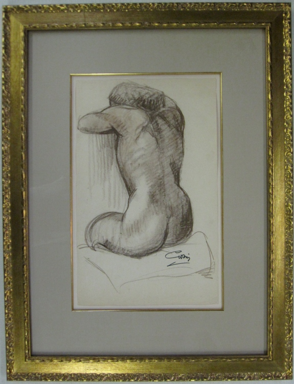 "Charcoal Nude, Evelyn Avery Artwork, 29.5"" x 22"", $2,195"