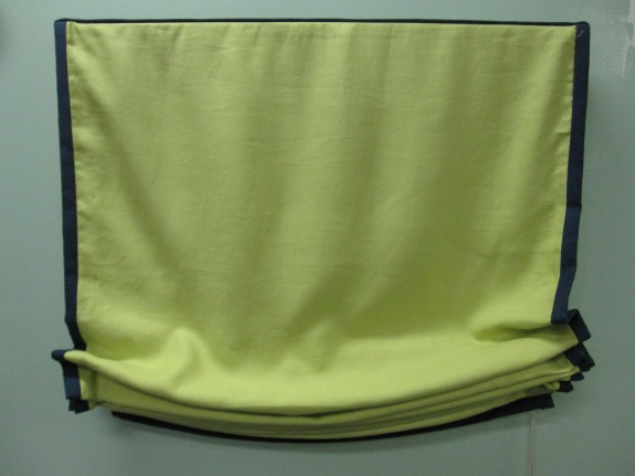 Lime Green Linen Roman Shades, Banded Linen Navy, $129