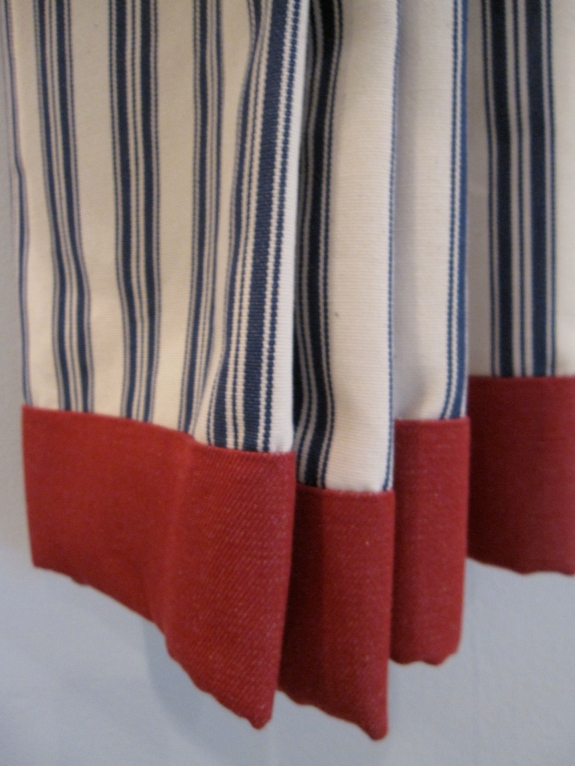 Navy Stripe & Ticking, Red Banded