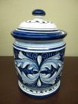 "Italian Majolica, Canister, 7 1/4"" x 5""  WAS $125   NOW $50"