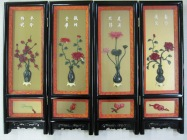 """Exquisite Handcrafted, 4 Panel Mini Screen, Lacquered Black, 24"""" x 18"""", $212"""