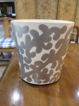 "Footed, Oval Hand Painted, Wastebasket, 11""W x 9.5""D x 12""H, 95"