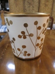 "Footed, Oval Handpainted Wastebasket, 11""W x 9.5""D x 12""H,  $95"