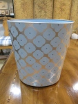 "Footed, Oval Hand Painted, Wastebasket, 11""W x 9.5""D x 12""H, $95"