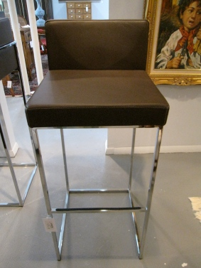 Calligaris Bar Stool, Made in Italy, Excellent Condition, Espresso Leather Seat, 2 Available, $339 each (Retail $750)