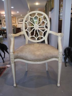 Arm Chair, Spider Back, Faux Alligator, Nail Head Trim, Occasional Chair, Host Chair
