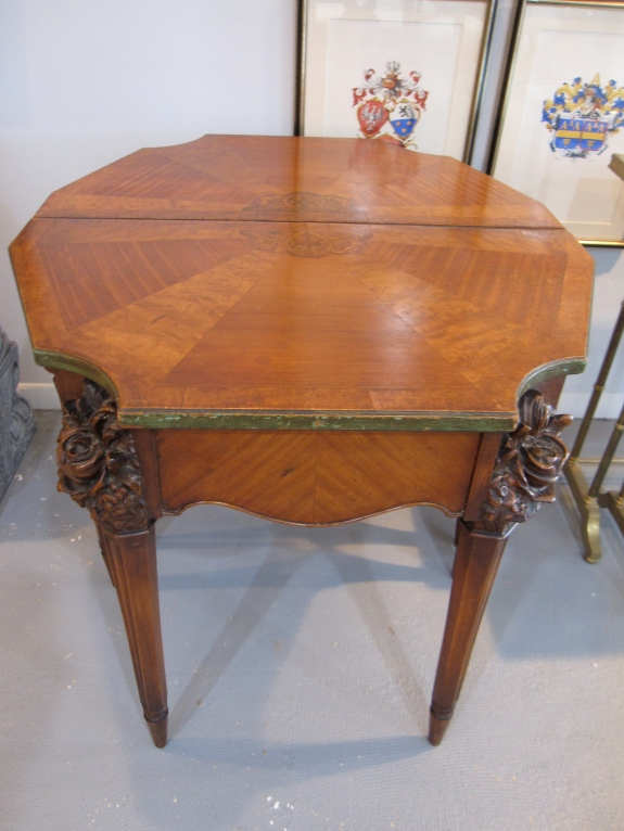 Pair of Antique Demilune Tables, Exquisite Carved Flowers, Basket, Parquetry, Inlaid Wood, Price TBD