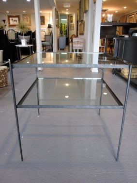 "2-Tiered Side Table, Glass & Steel, In the manner of Nicos Zographos, 3/4"" Glass Tops"