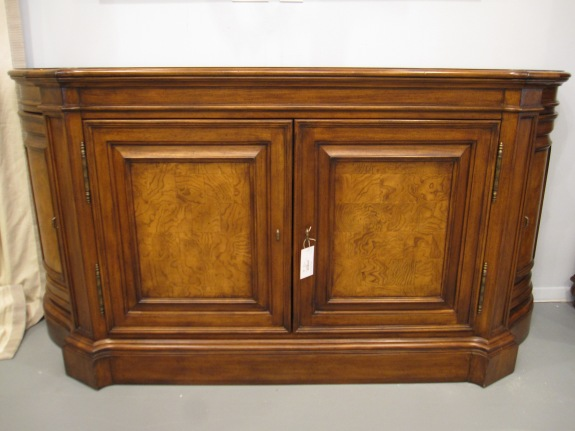 Ethan Allen Buffet, Curved Profile, Abundant Storage, Two Interior Drawers, Adjustable Shelves,  Recessed Panels, Excellent Condition