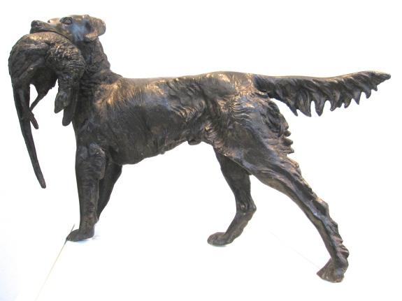 French Bronze Statue Hunt Dog Pheasant