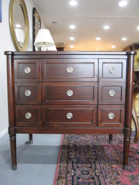 "Drexel Heritage, Concorde Occasional Chest, Cherry Finish, 36"" x 34"" x 22"", Antique Finish Capped Feet, Classic ""O"" Ring Drawer Pulls, Top Shows Minor Finish Blemishes Otherwise Excellent Condition"