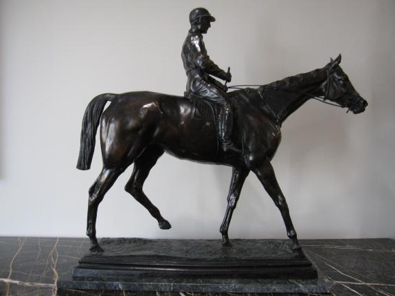 """Bronze Sculpture by Isidore Bonheur (1827-1901), Inspired by Kincsem, Elijah Madden, 30""""w x 10""""d x 29""""h"""