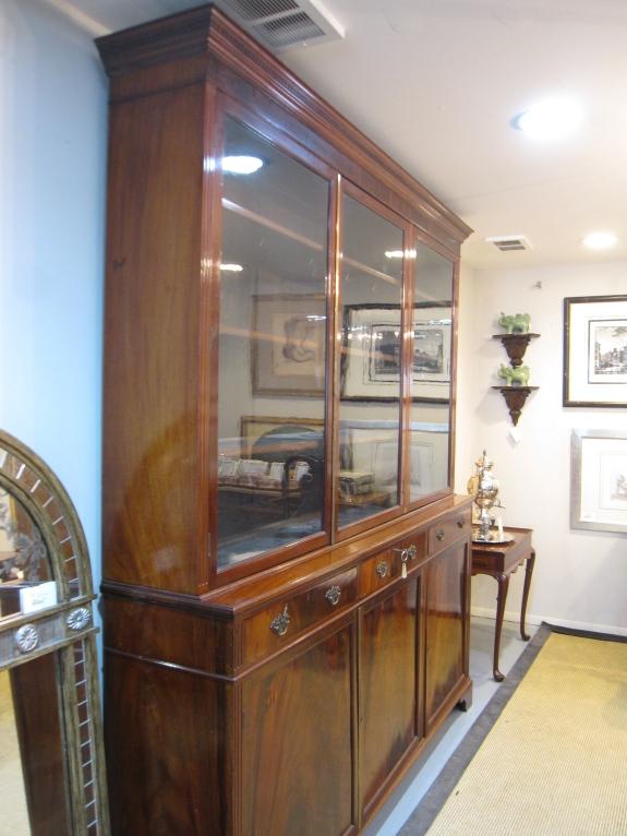 "Georgian China Cabinet, Circa 1840, Original Glass, 15""d x 87""h"