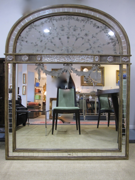 "Arched, Etched Mirror, Gold & Silver Embellishments, 46"" x 56"", $629"