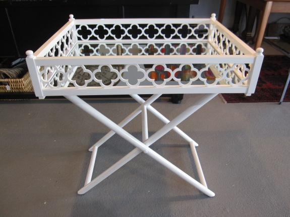 Worlds Away, White Lacquered Tray Table, Clover Leaf Motif