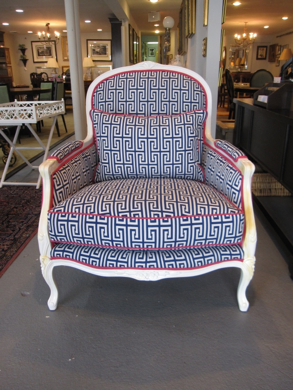 Très Chic!  Pair of Bergere Arm Chair, Upholstered in Greek Key Fabric with Fushia Cording,  White Lacquered Wood Finish, Kidney Pillow, One Kings Lane