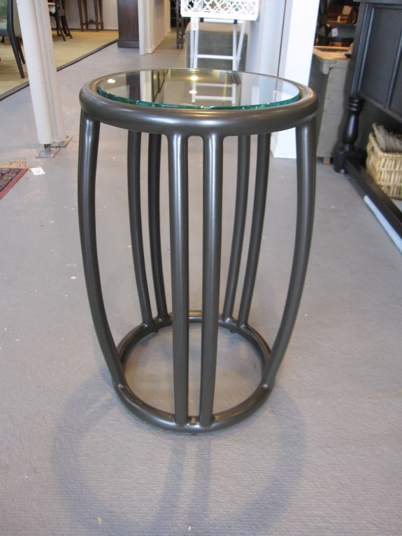Classic, Traditional McGuire, Baker Taborette Side Table, Tubular Aluminum, Glass Tops, Suitable for Indoor or Outdoor Use - Brand New