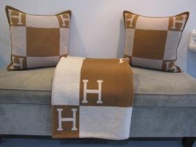 "Hermès Avalon Throw, Signature H Blanket, Ecru/Camel, 85% Wood, 15% Cashmere, Measures 50"" x 69"", $1,022 (Retail $1,500.00)"