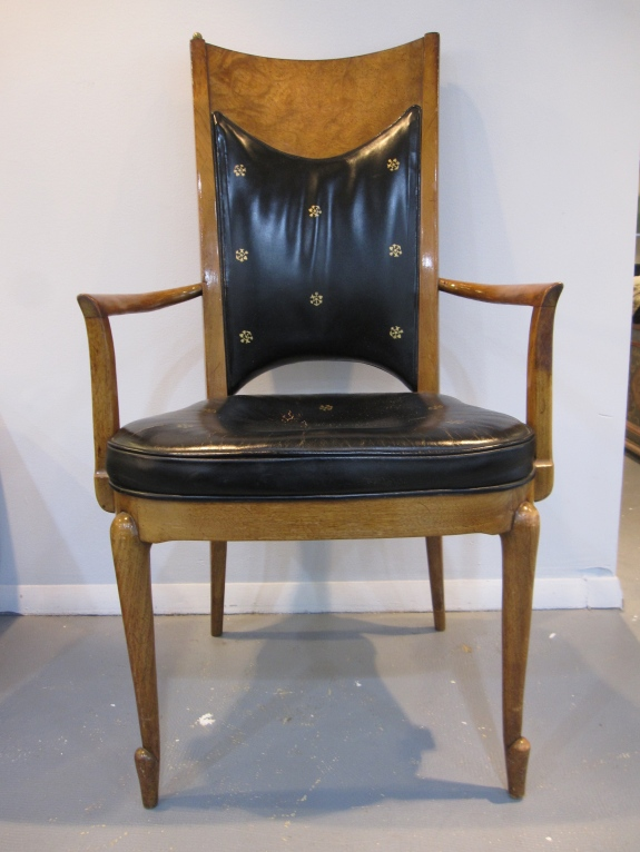 Mastercraft Grand Rapids Arm Chairs, Tooled Leather, Exquisite Pair of Arm Chairs, Brass Ball Finials, 1st Dibs