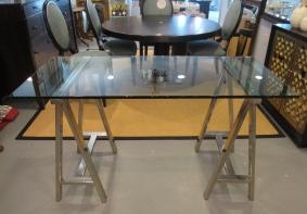 Glass & Chrome Sawhorse Desk, Console, Mason Glass Top Desk from Williams Sonoma Home