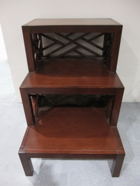 Step Side Table, Transitional Chippendale Style, Manufacturer Williams Sonoma