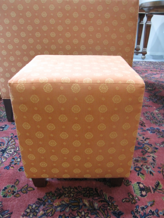 Pair of Cube Upholstered Cubes, Transitional Espresso Finished Feet