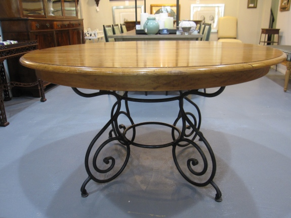 "Ethan Allen 58"" Round Dining Table, Iron Scroll Pedestal Base, 20"" Leaf"
