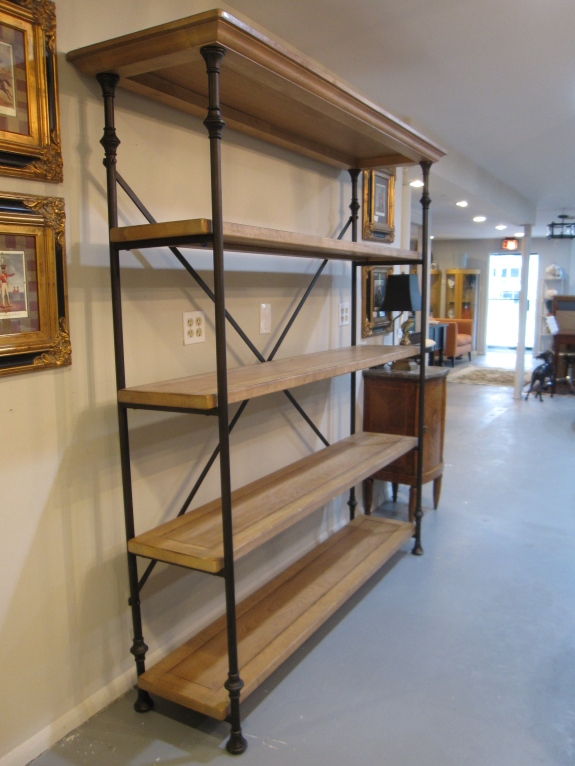 "Solid Wood Bookshelf, Reclaimed Oak Finish, Metal Iron, Industrial Style Bookcase, 65""w x 15"" x 75""h,   $739"