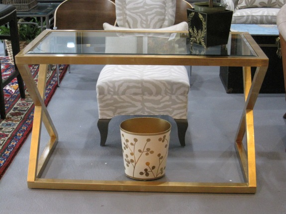"Mark Desk, Gold Leaf & Glass Desk, Sofa Table, 48""x 24"" 29""h, $975"